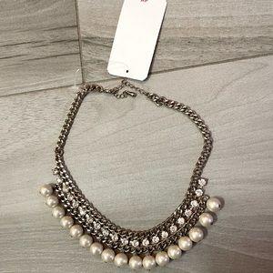 Bib costume necklace- faux rhinestone, pearl, gold